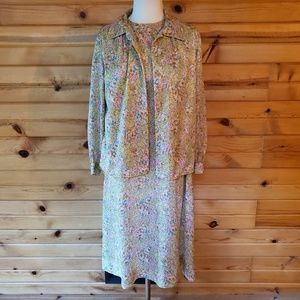 1960s Homemade Multi-Color Floral Poly Shift Dress